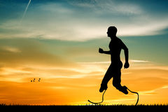 Man runs with prosthesis Stock Photography