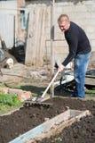 A man runs a rake on the ground Stock Image