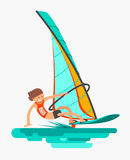 Man rushes on the board with sail. Active lifestyle. Windsurfing, water sport. Flat vector illustration Royalty Free Stock Photos