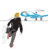 Man rushing to a plane Royalty Free Stock Images