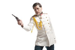 Man in russian officer coat Royalty Free Stock Images