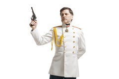 Man in russian officer coat Royalty Free Stock Photo