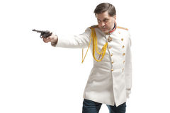 Man in russian officer coat Royalty Free Stock Image