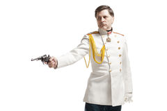 Man in russian officer coat Royalty Free Stock Photography