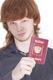 Man with russian passport Stock Photos