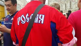 Man in Russian team t-shirt in time of FIFA soccer world Championship. stock video footage
