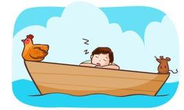 Man sömn på fartyget med hönan och tjalla Arkivbilder
