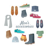 Man s Accessories Vector Concept in Flat Design Royalty Free Stock Photography