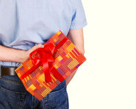 Mans back with gift box Stock Photography