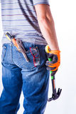 Man's back with tools Stock Images