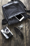 Man's bag and various personal items Stock Photography