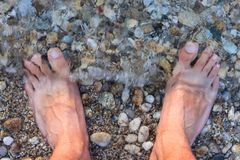 Barefoot Man Sank in the Water on the Rocky Beach. Man`s Bare Feet Sank in the Water on the Rocky Beach Stock Photos