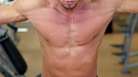 Man`s beauty, muscle, athletic chest and hands