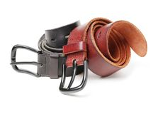 Man`s belt. On a White Backgrounds stock image