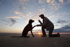 Man's Best Friend. A man and his dog share a moment at sunset Royalty Free Stock Photos