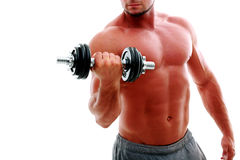 Man's body with dumbbell Royalty Free Stock Photos
