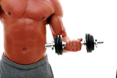 Man's body with dumbbell Royalty Free Stock Images