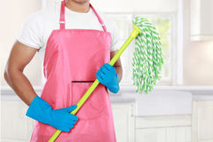 Man's body with mop cleaning equipment Royalty Free Stock Photo