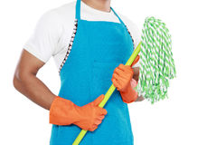 Man's body with mop cleaning equipment Stock Images
