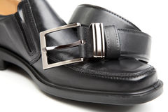 Man's boot and belt Royalty Free Stock Photo