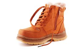 Man's brown boot. Brown boot with a lace on a white background Stock Images