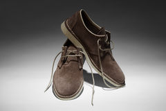 Man's brown shoes Royalty Free Stock Image