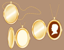 Man's Cameo in Oval Locket, Gold Chain Stock Photo