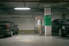 Man`s car was stolen, can`t find car at underground parking. Young man`s car was stolen, can`t find car at underground parking Royalty Free Stock Image