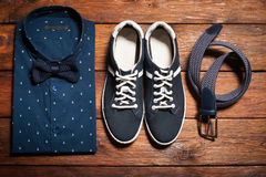 Man's collection of clothes in casual style Stock Image