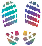 Man's colorful bootprints Royalty Free Stock Image
