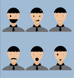 Mans Emotion Icons in Vector Royalty Free Stock Photo