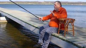 Man's emotional fishing stock video footage