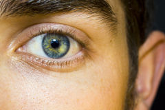 Man's eye. Closeup of a male blue eye staring straight Stock Photography