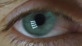Man`s Eyes Close-up. Video. Close-up of man`s eye, nervous movement. Pupil looks around