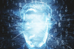 Man`s face with blue digits Stock Photo