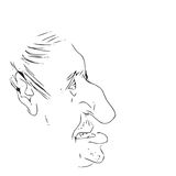 Man's face caricature. Vector illustration Stock Images