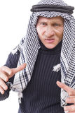 Man's face covered with Arab scarf Royalty Free Stock Photography