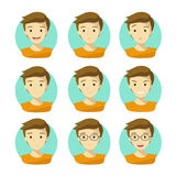 Man`s Face Expressions.Human Emotion Icons Vector with White Background. Royalty Free Stock Photography