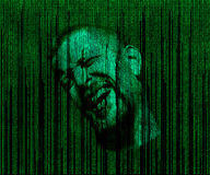 Man's face with eyes closed, immersed in a matrix of binary code Royalty Free Stock Images