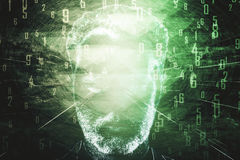Man`s face with green digits Stock Image