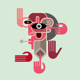 Man's face with hands - vector illustration Stock Images