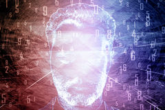 Man`s face with pink digits Stock Image