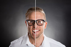 Man`s Face Showing Anger And Happy Emotions Stock Photos