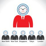 Man s face showing time of different countries Stock Image