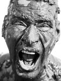 Man's face is very dirty Royalty Free Stock Image