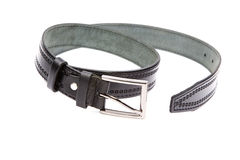 Man's fashion belt isolated on a white Stock Photos
