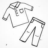 Man's fashion shirt and shorts hand drawn Stock Image