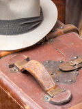 Man's Fedora Hat and Leather Suitcase II Stock Images