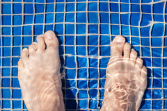 Man's Feet At Pool Stock Images