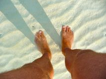 Man's feet in shallow water Royalty Free Stock Images